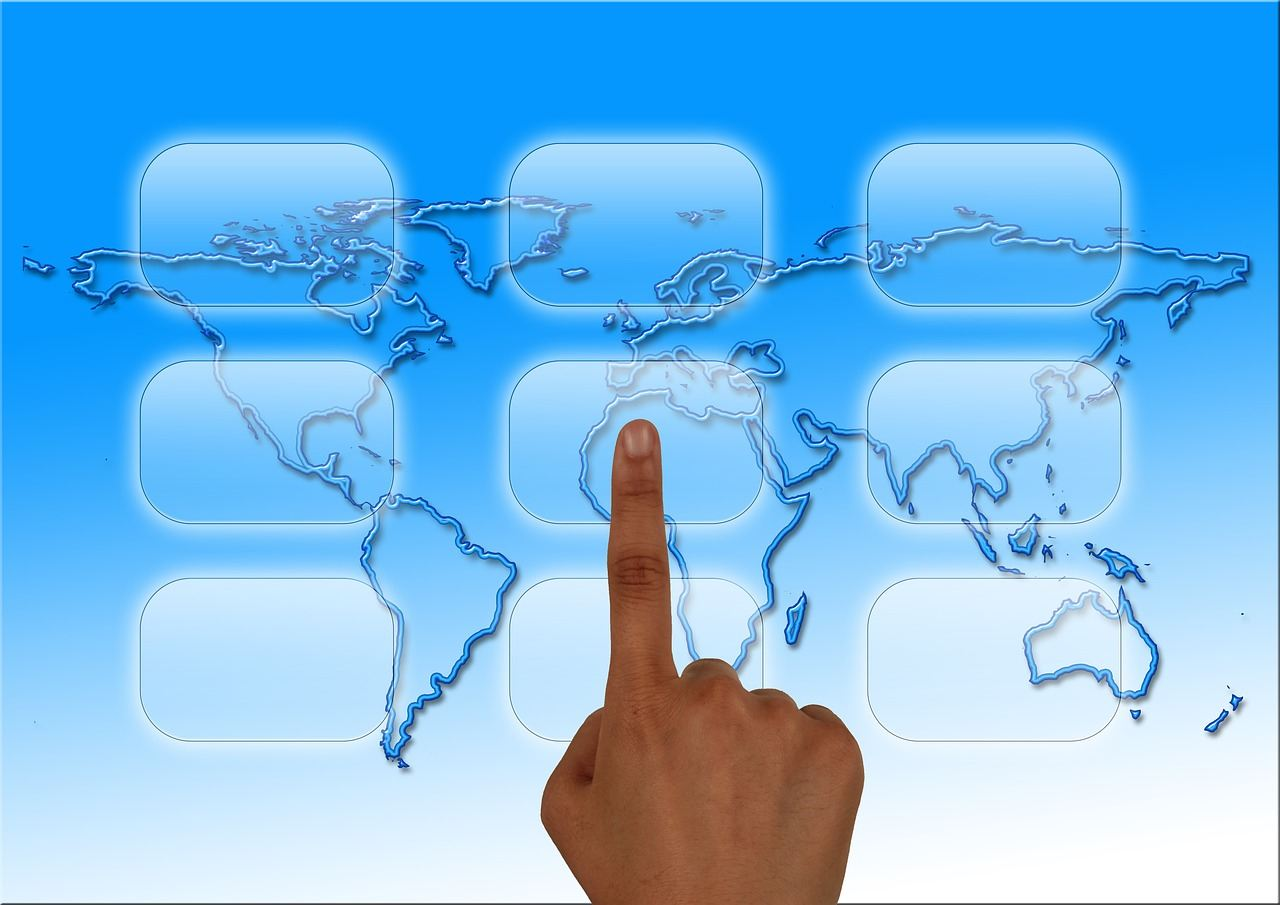 businessman selecting keywords on a global platform