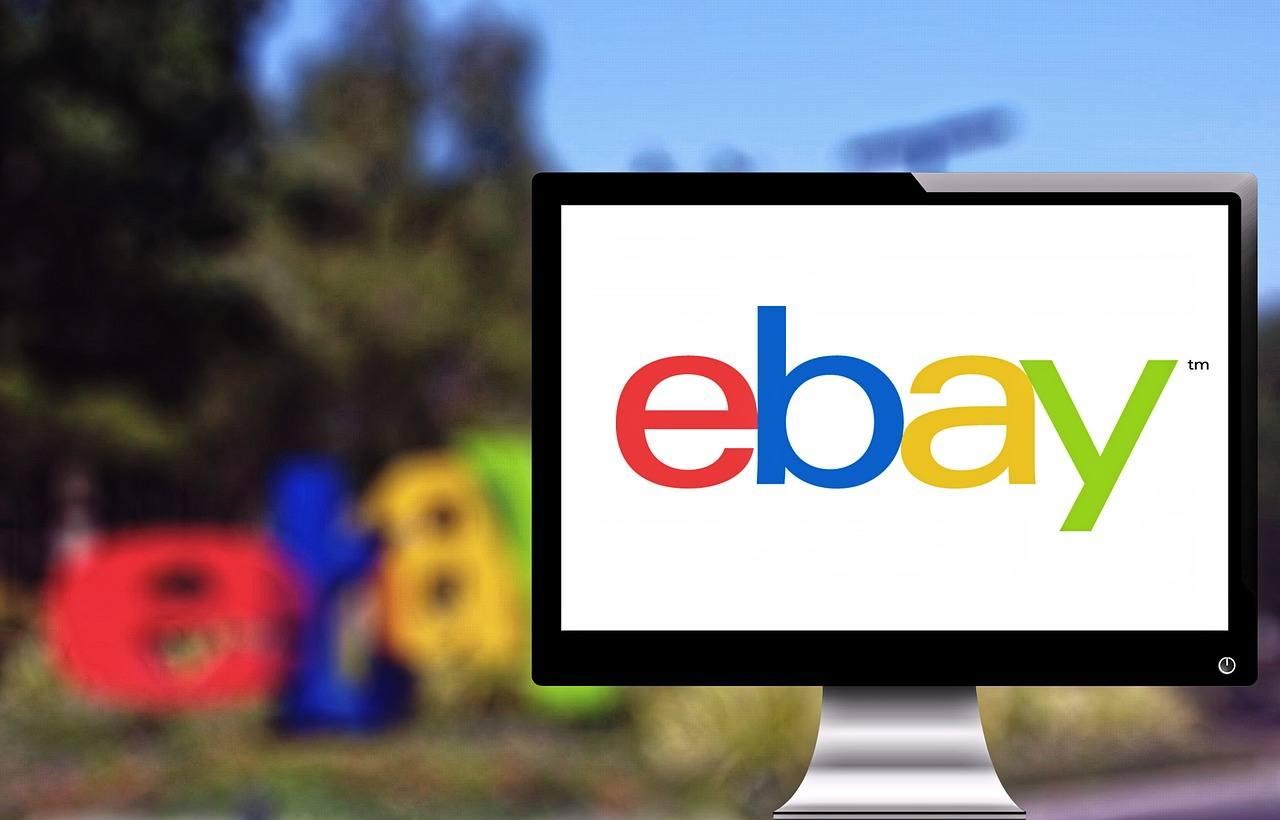 eBay logo shown on a desktop monitor