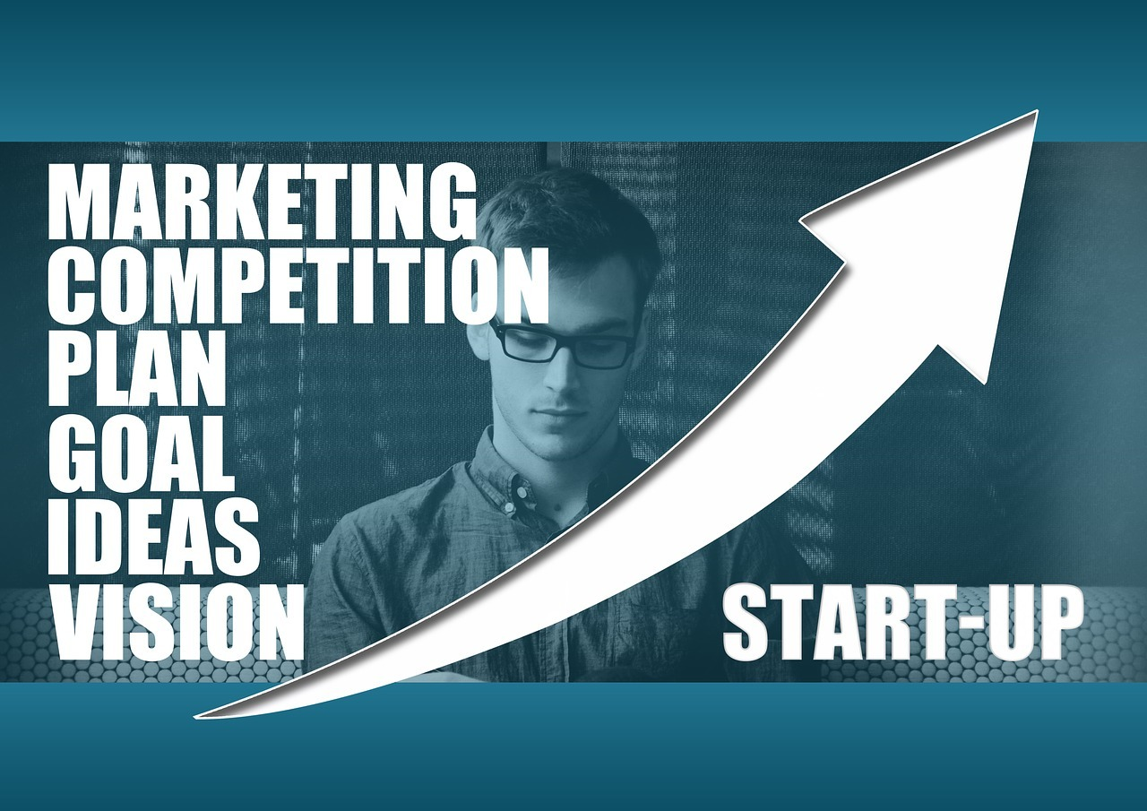young entrepreneur analyzing competition and business marketing ideas